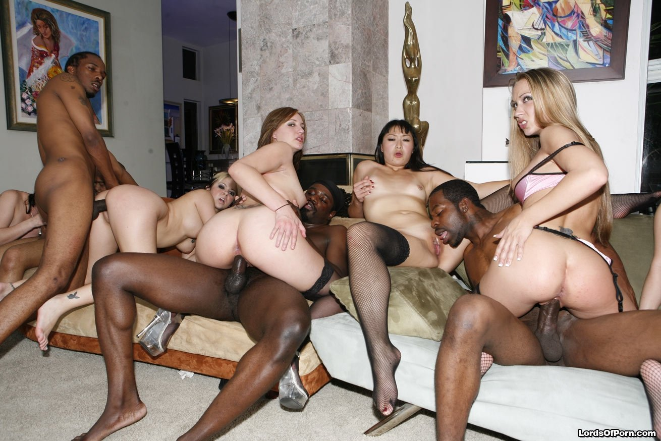Interracial group fuck