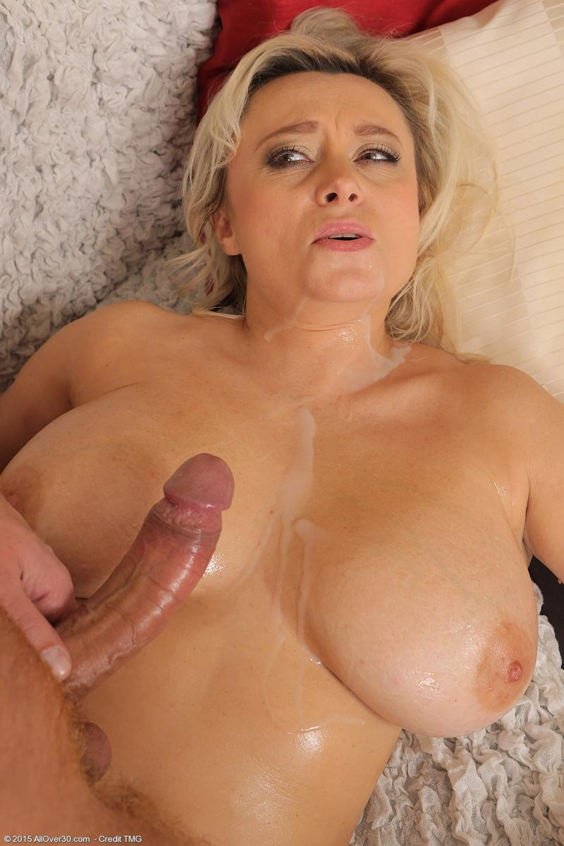 Big mature tits with cum