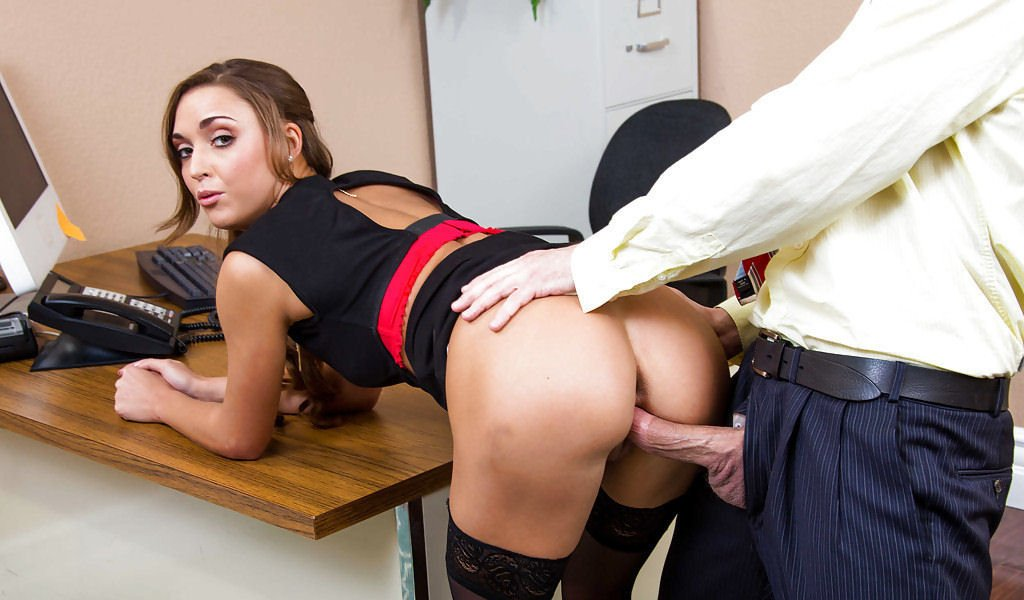 Secretary In Stockings Has Sex On An Office Desk