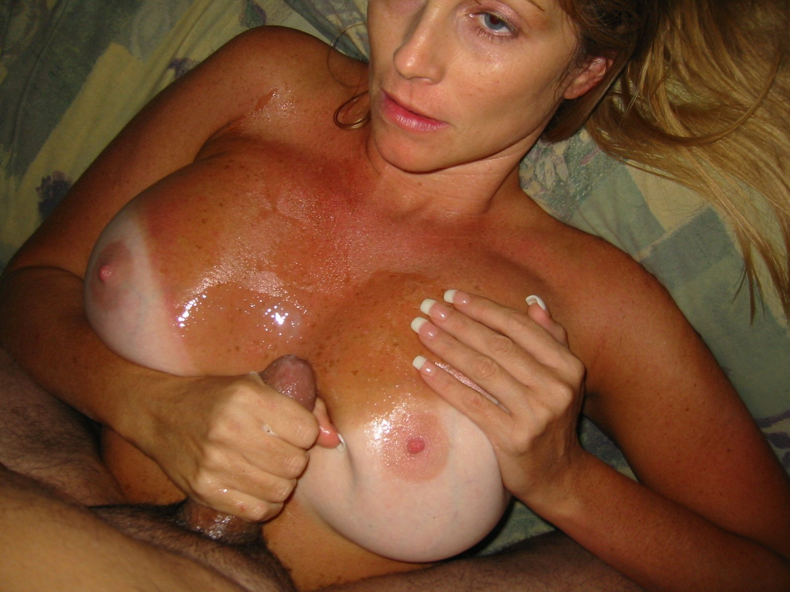 Fake tits homemade cumshot again... She