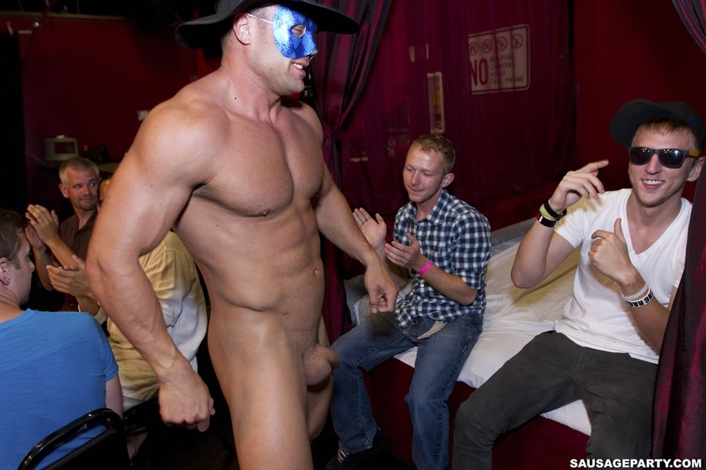 Horny guys at gay male strip party