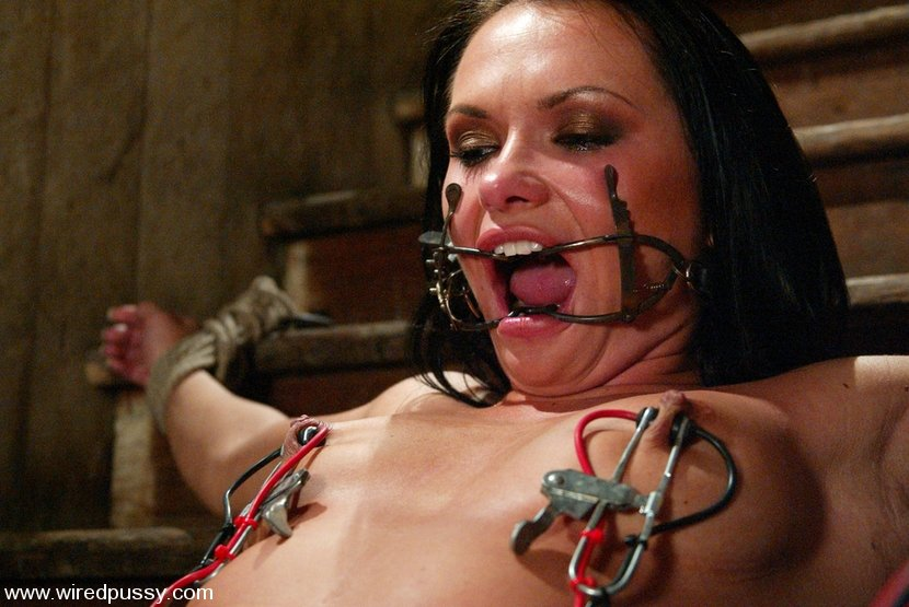 Anal whore with clamps on pussy getting fucked