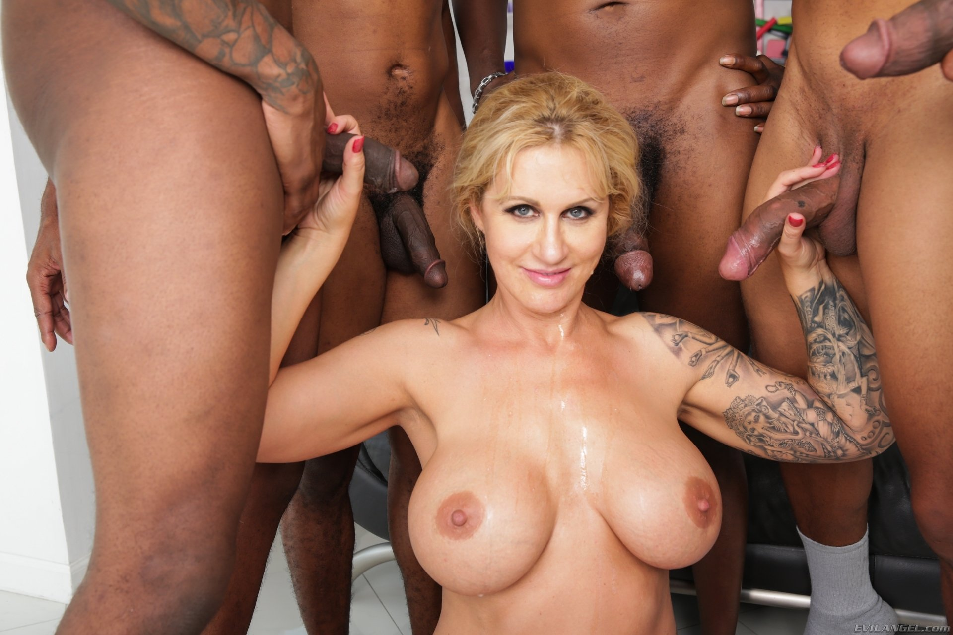 Bang big blonde gang interracial tit