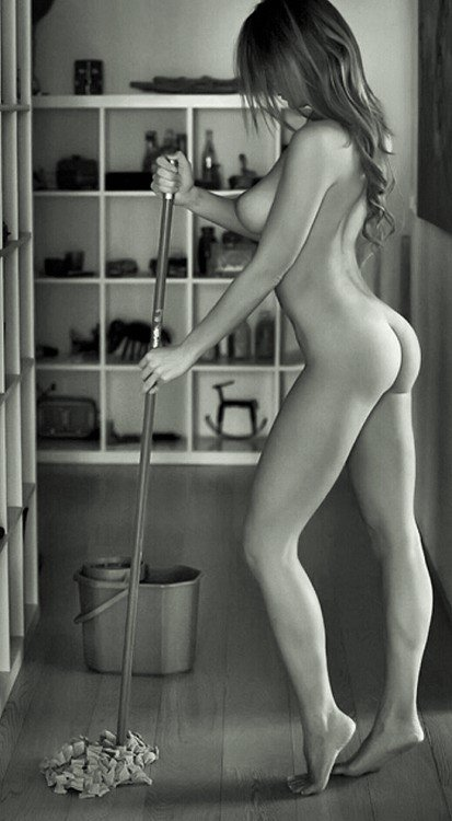Sexy woman cleaning naked, young girls undies