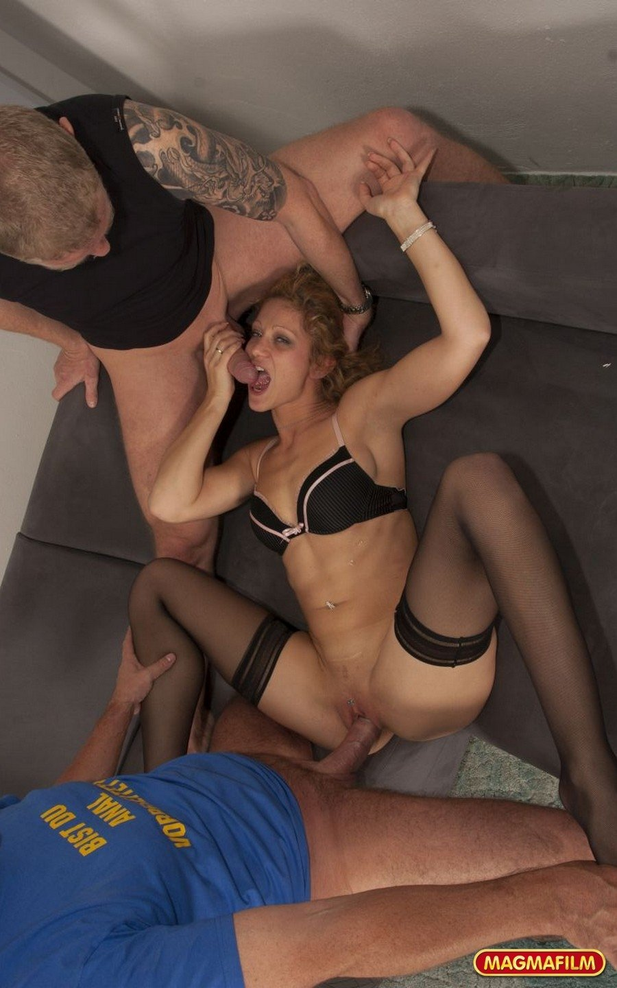 Cute young wife sucking dick while husband watches