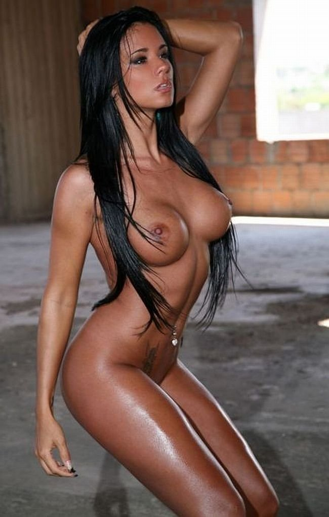 Hot naked brunette fake tits #14