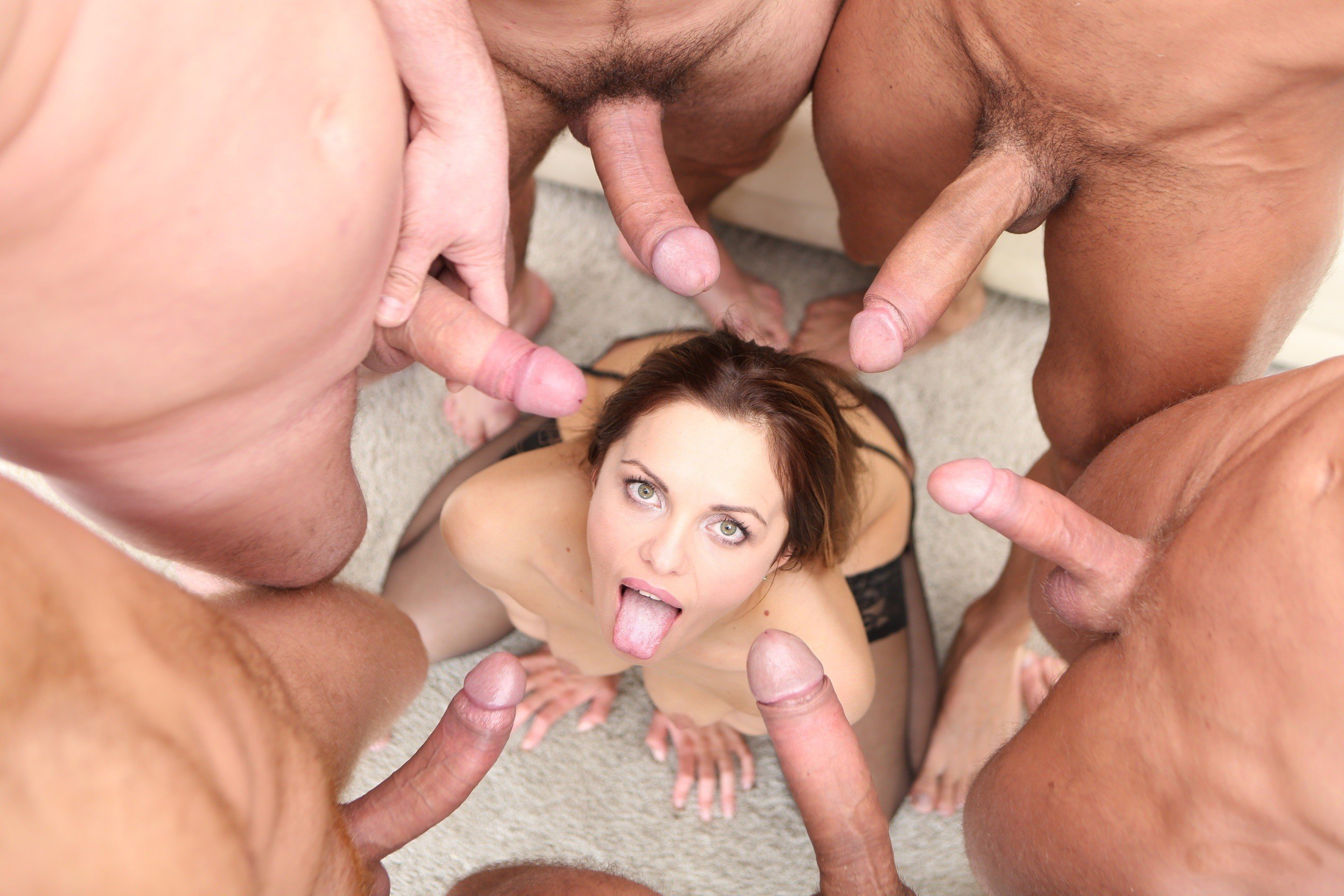 Teen brunette gang bang, handjob compilation videos