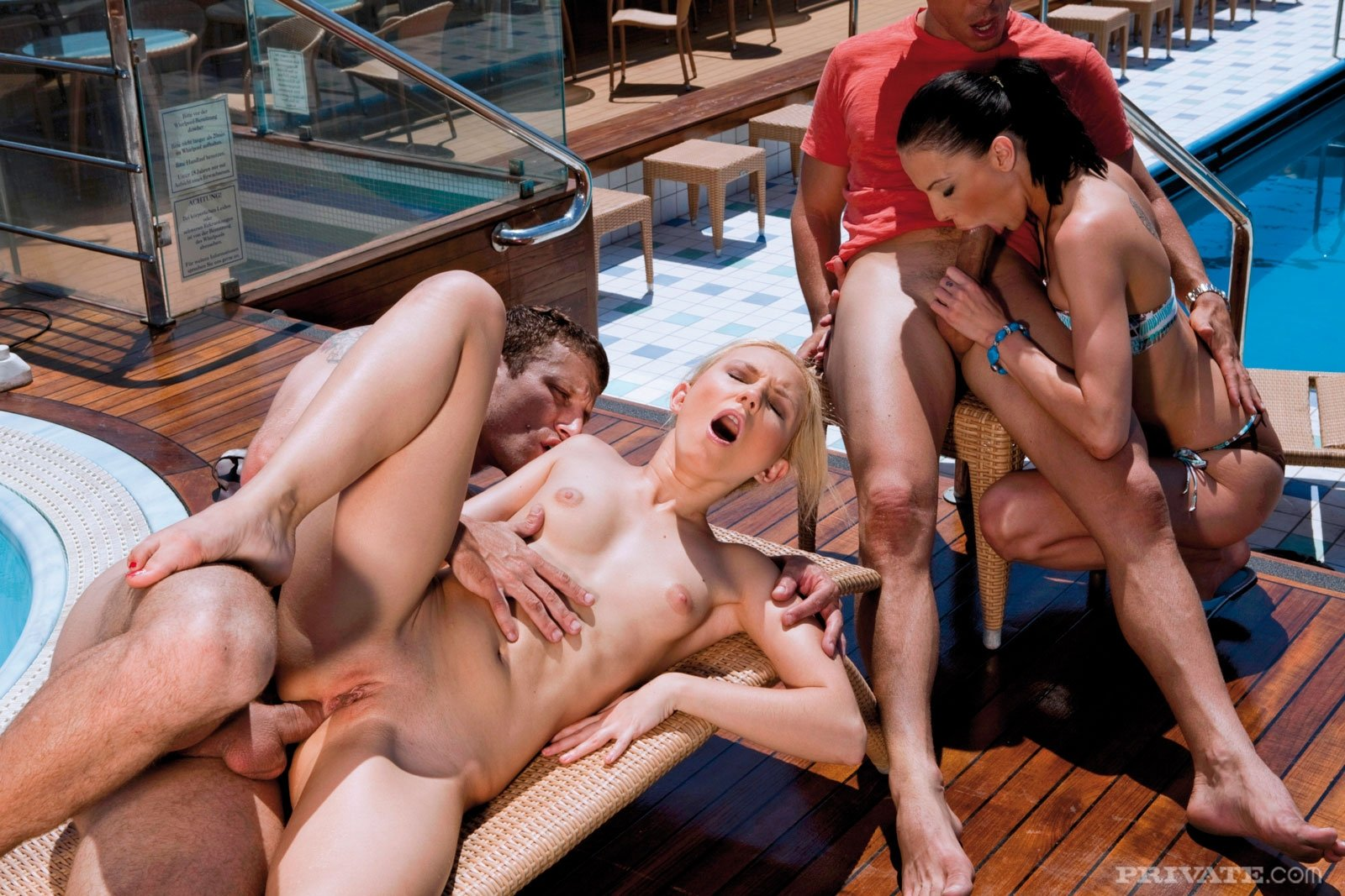 Aunt and son in the sauna Clothed Females Naked Man Threesome