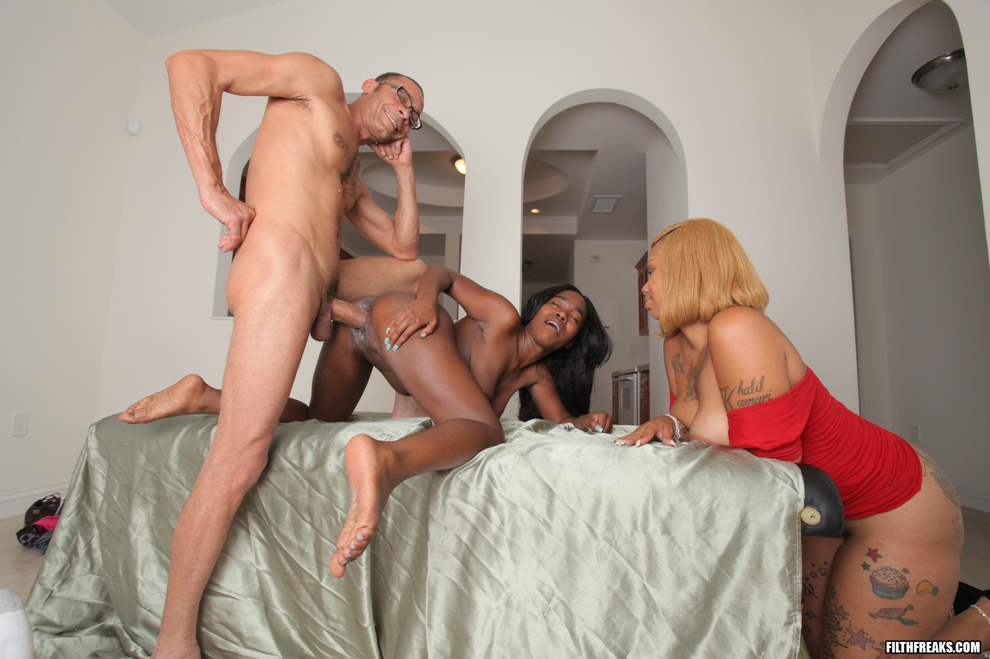 Interracial gangbang and another hot scene