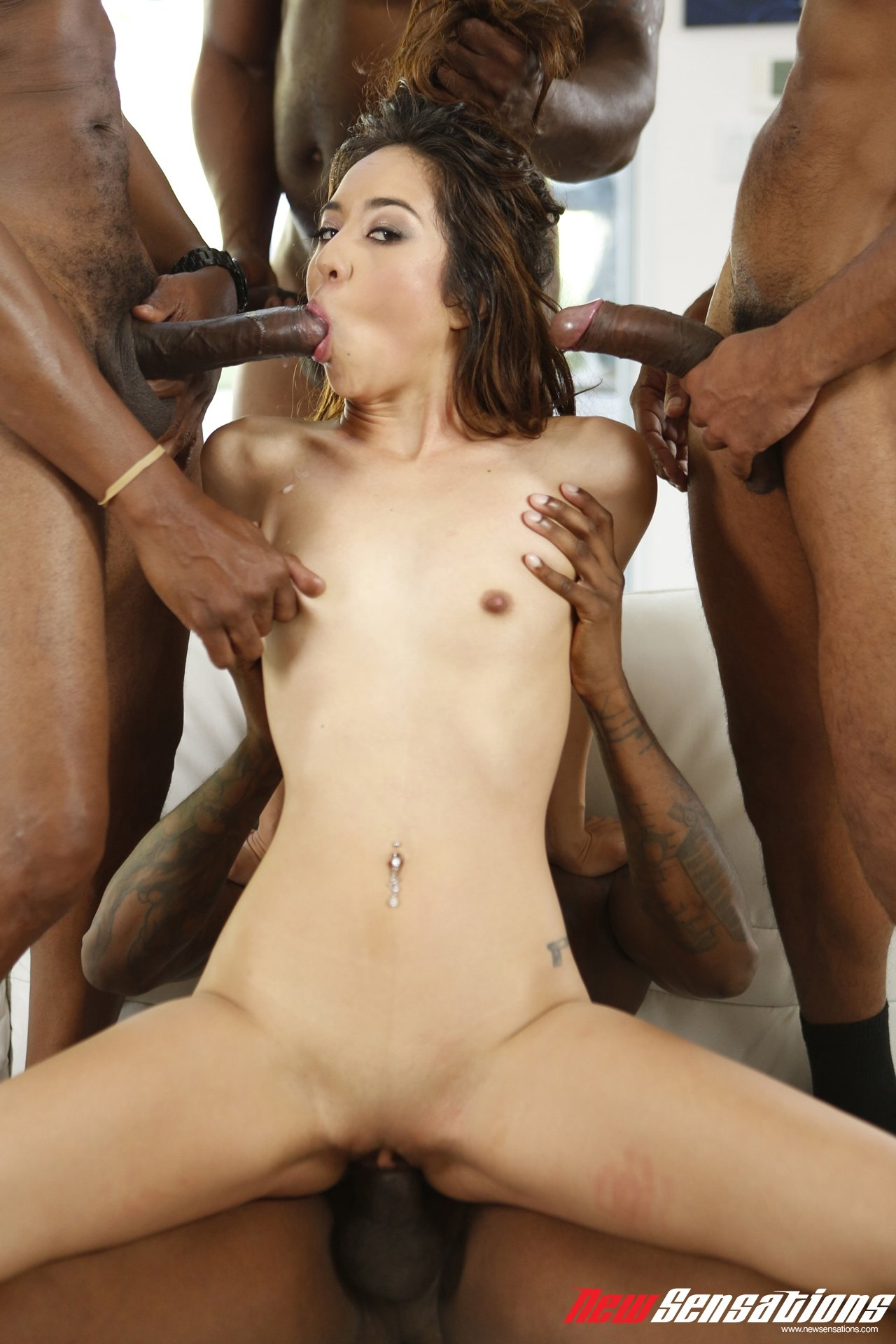 Asian foot fucking gang bang