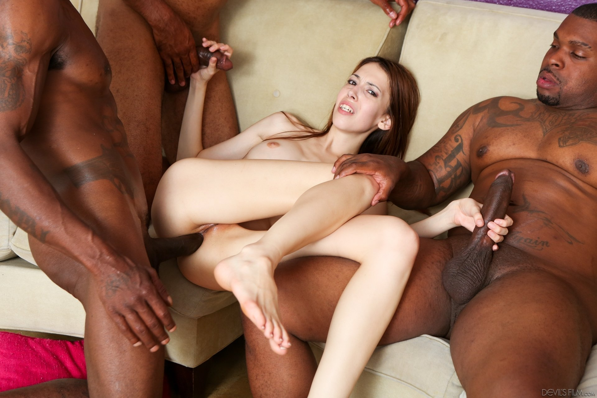 Xxx interracial gangbang trailers, readhead pussy and tits up close