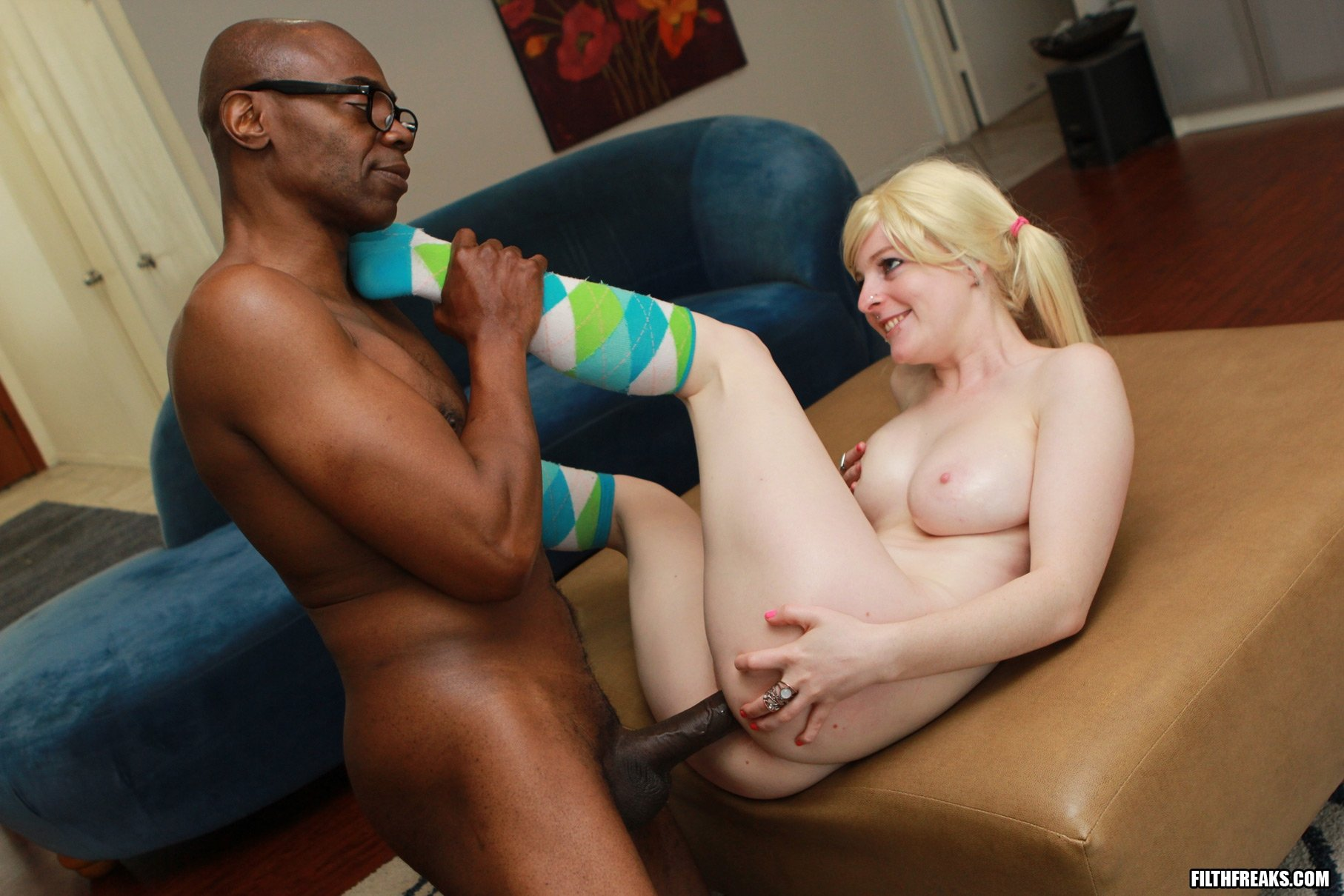 Interracial blonde with glasses