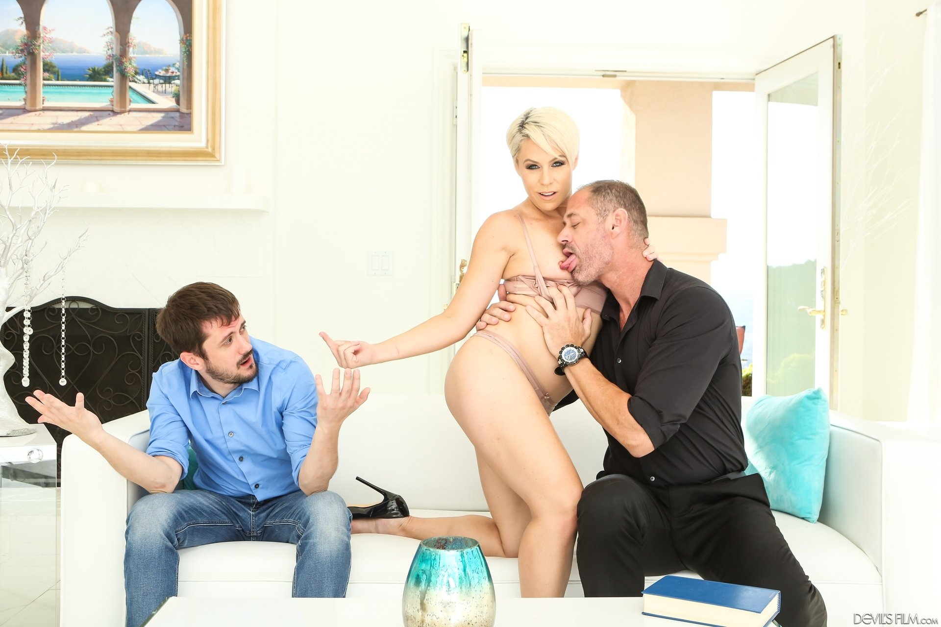 Daniella french Blonde wife blows husbands friend