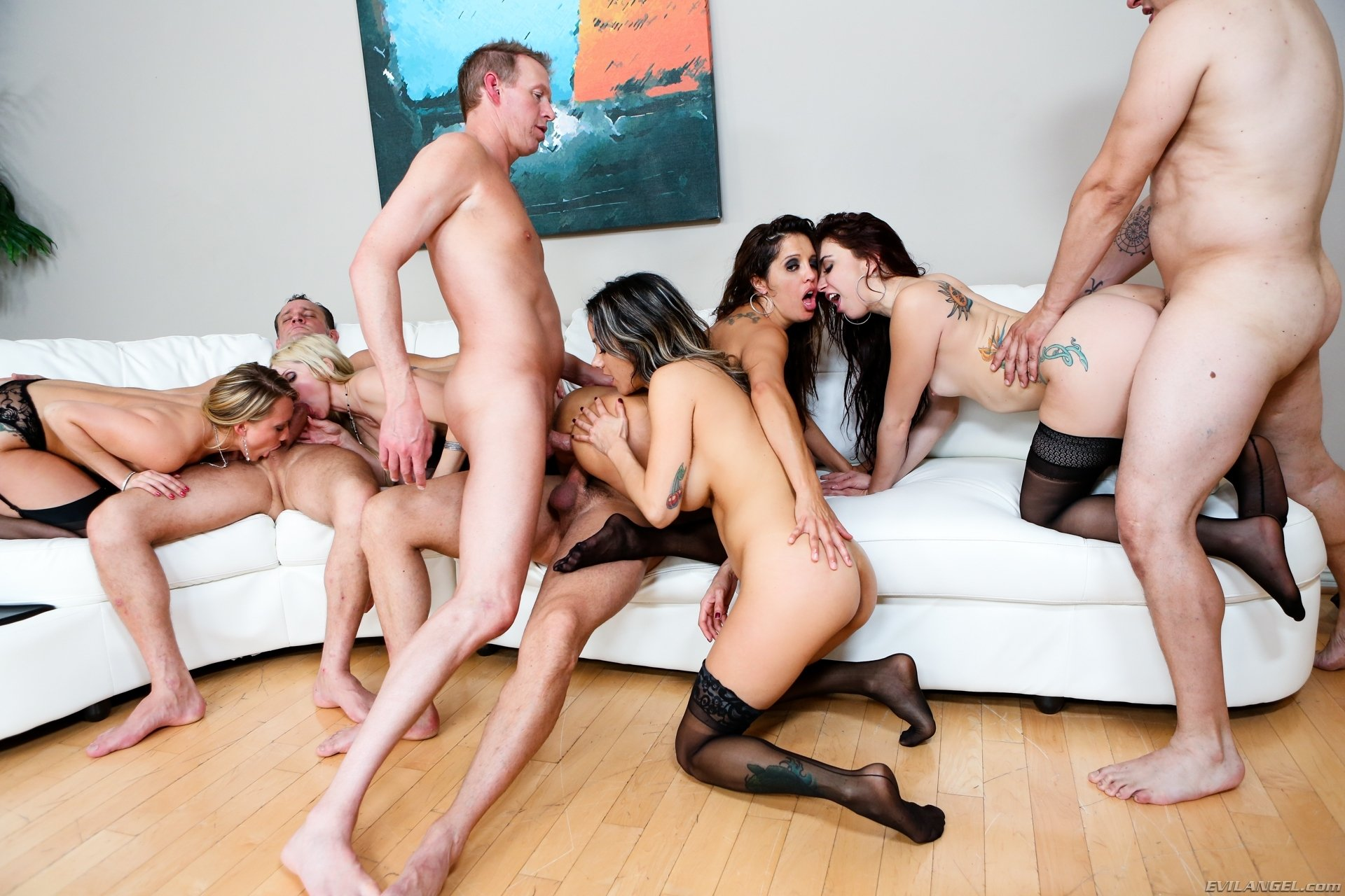 Wild group sex swinger party