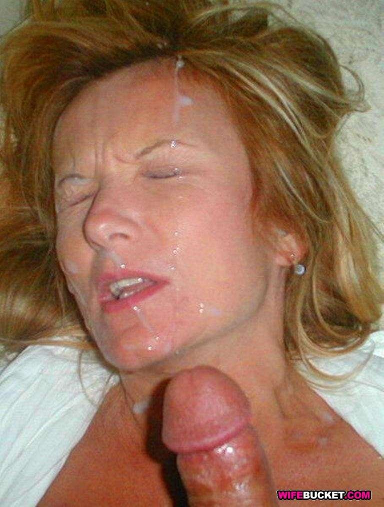 Real amateur wives facial cum