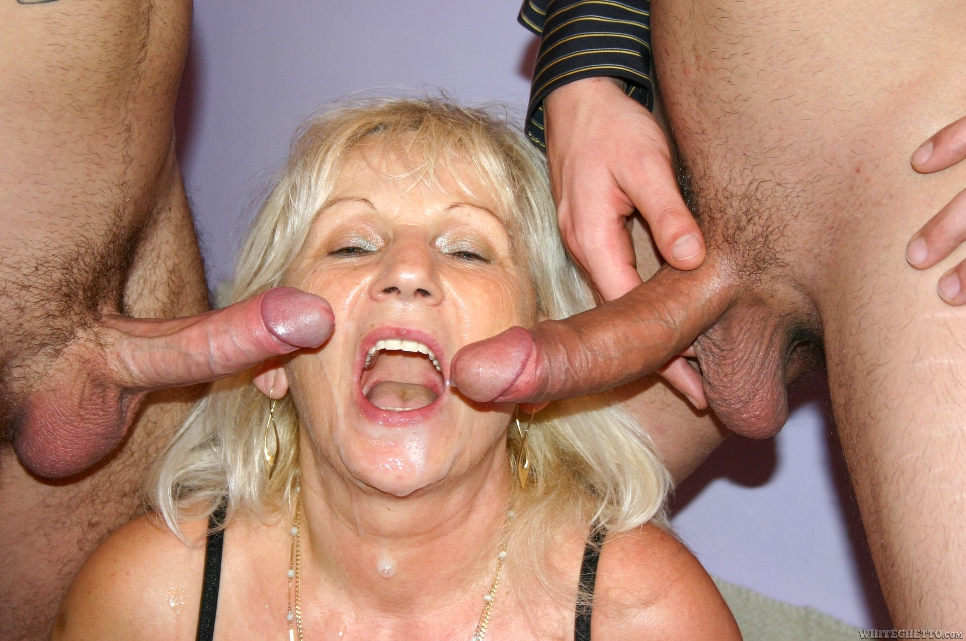 2 guys cum on grandma039s face 6