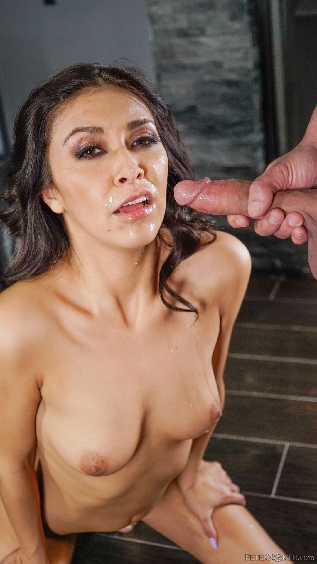 Brunette Cheryl takes facial after gagging mutant cock in the house