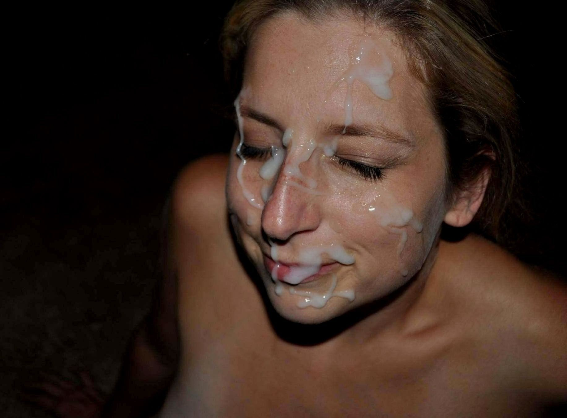 Sexy amateur blindfolded with facial