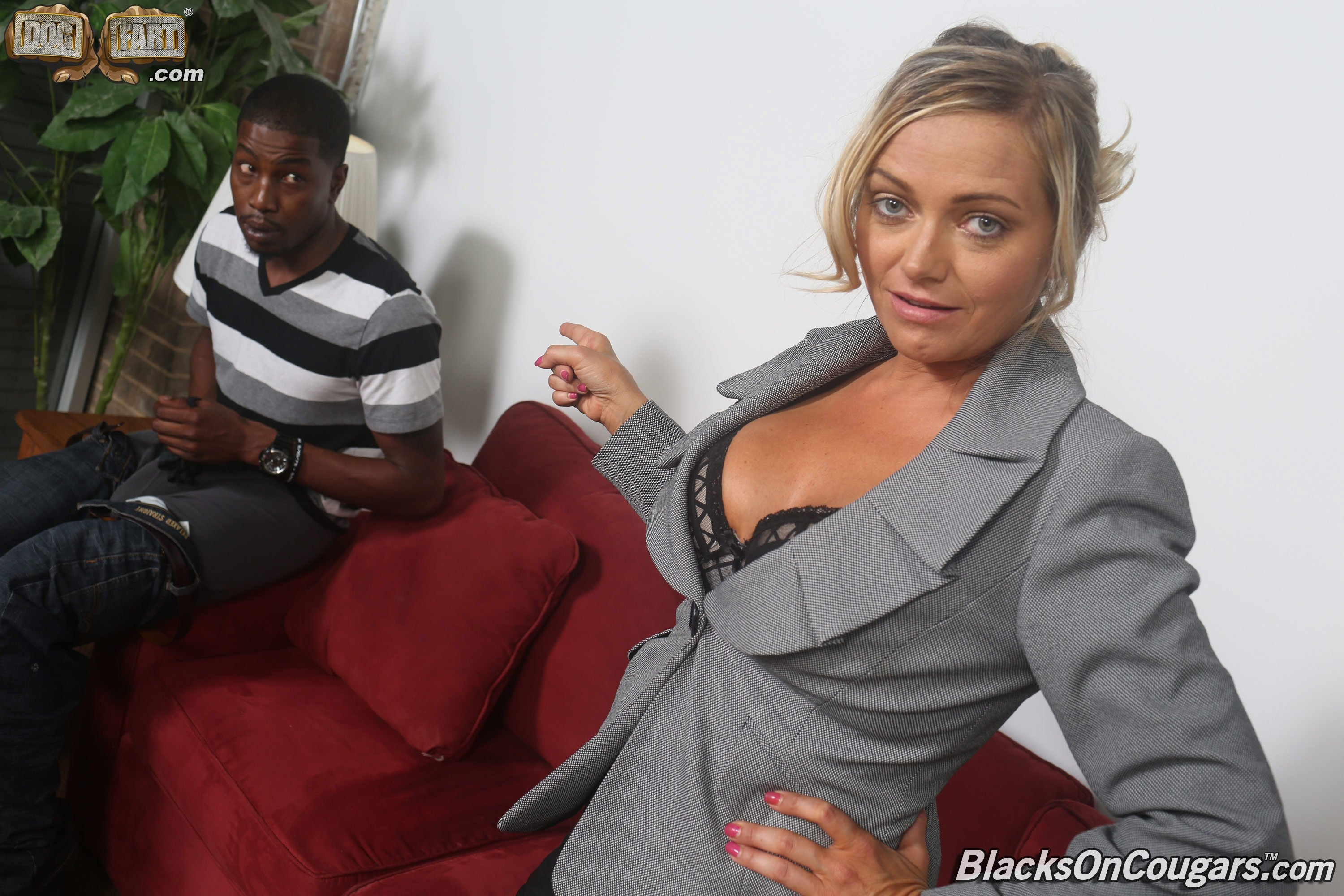 Wife sitting on huge cock in chair while girl licks