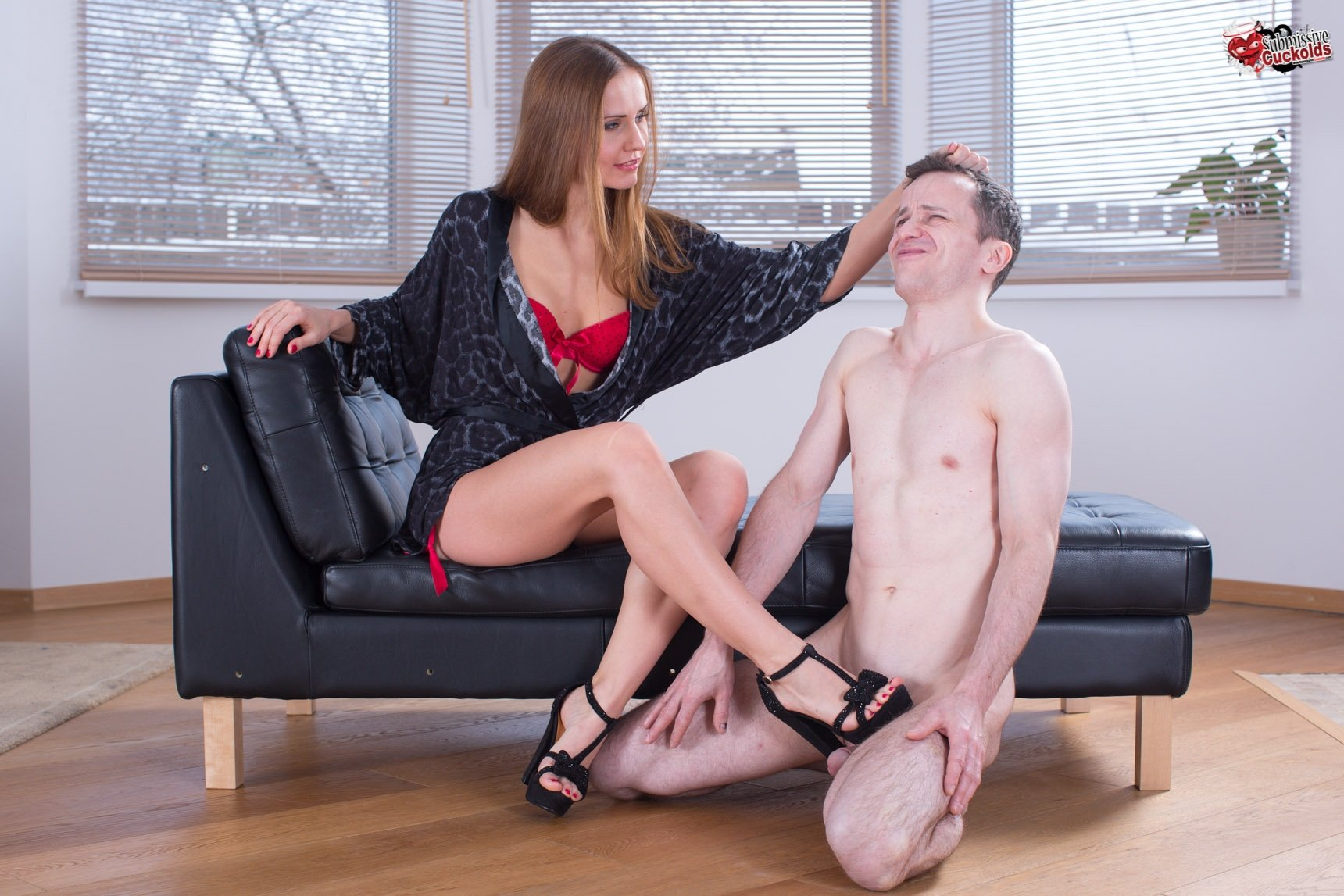 Cuckold submissive slave husband and his femdom hotwife