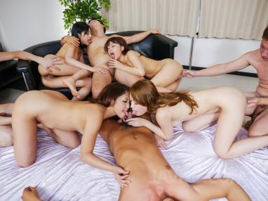Perverted chick and horny gay dudes have a wild fuck session