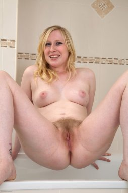 Hairy milf in the shower