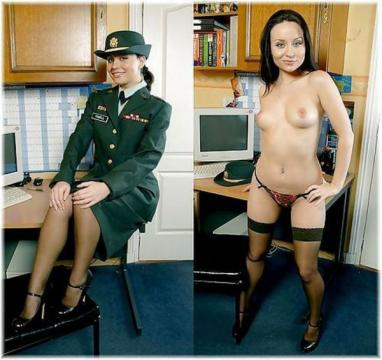 Photos of blonde military girls in dress blues showing tits
