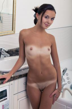 Nude little girl scissoring