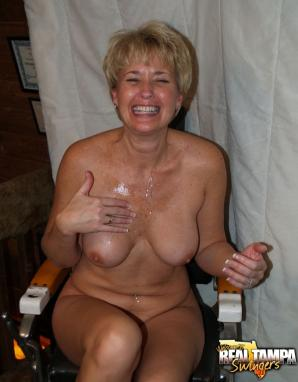 Mature wife cum on tits
