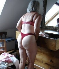 Chubby mature in thongs